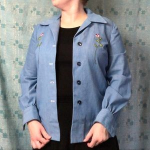 Vintage Denim Shirt with rose embroidery